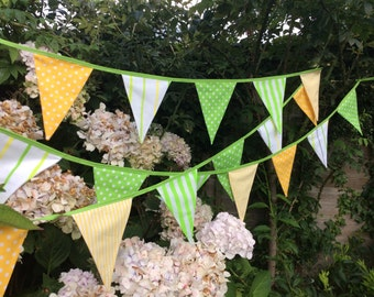 Yellow and lime bunting, fabric banner, - 24 flags measuring 5.2m 17ft with ties, parties,