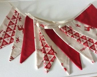 Christmas Bunting Scandi Style - Reindeer design 12 flag Fabric Garland Banner - 8.5ft long