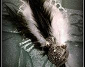 Hair Barrette: Dead Girl Vintage Decay - Black White Feather Rhinestone Burlesque Victorian Wedding Handmade Accessory