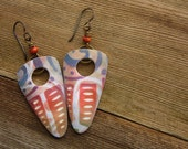 Polymer Clay Earrings featuring Abstract Carnival Design in Purple, Red and Tan