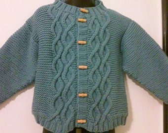 Hand Knit handmade Beautiful Cabled Cardigan with wood buttons, Size 4T