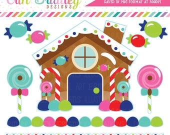 Gingerbread House Clipart Christmas Holiday Digital Clip Art Graphics Candy Borders and Lollipops Instant Download