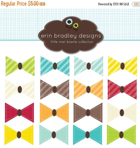 50% OFF SALE Little Man Bowties Clipart Clip Art Personal and Commercial Use Digital Designs
