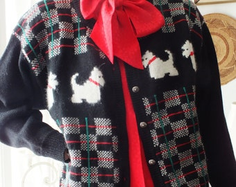 DEANS of SCOTLAND Scottie Dog Sweater Cardigan 100 % Wool Size Large