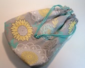 Aqua Floral and Lace Small Lined Drawstring Project Bag