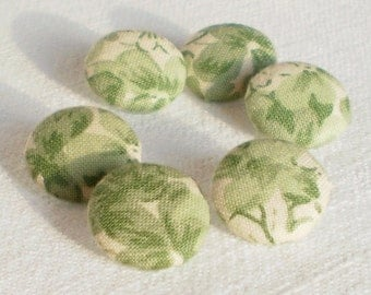 Fabric Covered Button, Springtime Green Flowers, 6 Small Floral Fabric Buttons, Light Green Flowers, Leaves, Beige, Sewing Clothing Knitting