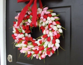 WREATH SALE Valentine's Day Wreath- Valentine's Day Decor- Valentine Decoration- Tulip Wreath