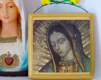 VIRGIN MARY Wood Shrine  -  A colorful and sparkly beauty for your altar