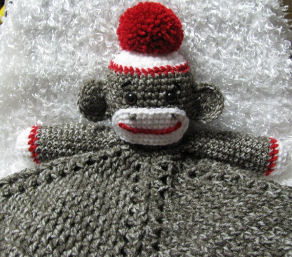 Handmade Crocheted Baby Sock Monkey Lovey Security blanket
