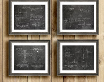 Gift Set of 4 Gray WWII airplane blueprints, aircraft decor, p-38, p-40, p-51, b-29 airplane decor, military airplane, boys room decor