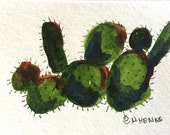 Bold Cactus an Original Watercolor & ink ACEO by Nan Henke, a somewhat abstract ATC (Artist's Trading Card)