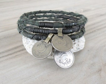 Silk Road Bangle Stack, 3 Piece Set, Silk Wrapped, Stacking Bracelets, Tribal Gypsy Jewelry, Dark Forest Green