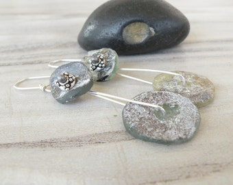 Ancient Roman Glass Earrings, Handmade, Sterling Silver, Rustic Modern, Drop Earrings, Pale Greens