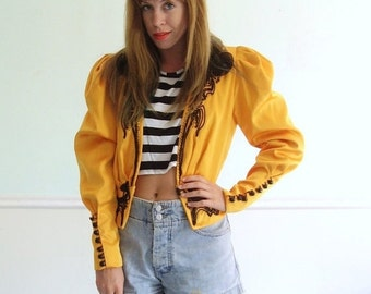 30% off ... Spanish Bull Fighter Golden Yellow and Black Couture Crop Jacket Blazer FRANCE Vintage 80s 90s - Small S Medium M