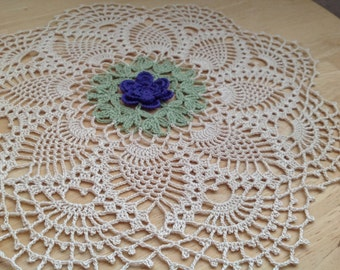 Hand crochet, Victorian style,Violet/Purple  Rose doily, Pineapples, round, very nice looking, perfect for wedding , gift or  just because