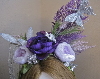 Violetta: Fairy Headpiece Purple Lavender Flowers Silver Butterfly Long Hanging Multi Strand Crystals Faerie Headband Sprite