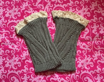 READY TO SHIP.  Ladies grey lace boot cuffs.  Boot Toppers. Boot sock.