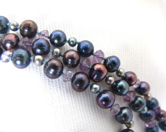 SALE Colorful Black Cultured Pearl and Amethyst Gemstone Necklace,Long Strand Peacock Blue and Purple Statement Necklace,Pearl Jewelry,9155