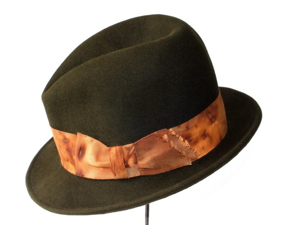 Men's Hat- 1920s Hat- Winter Accessories- Gift For Him- Hats For Men- Men's Gift- Men's Felt Hat- Men's Dress Hat- Men's Fashion- Green Hat