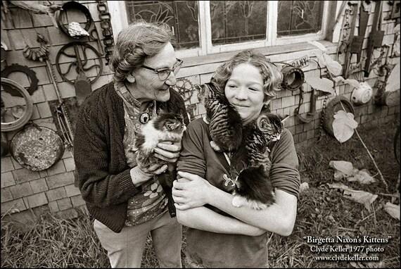 BIRGETTA'S KITTENS, Clyde Keller Photo, Fine Art Print, toned Black and White, Signed, vintage 1977 image, Treasury