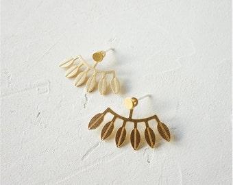 Amazonas Ear Jackets, Botanic Jewelry, Botanical, Botanic earrings, Leaves Jewelry, Leaf Jewelry, Leaf Earrings, Woddland, Earjackets