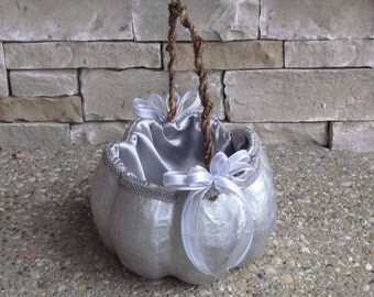 Large Silver Pumpkin Basket for your Cinderella Fall Wedding