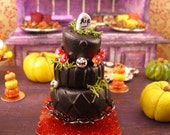 Halloween Whimsical Cake  - Dollhouse Miniature Accessories 12th Scale Handmade