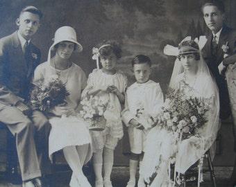 Original 1920's Wedding Photo - Sepia Photo - Group Wedding Photo