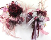 Burgundy, Plum and Mauve Rhinestone and Pearl Bracelet Corsage and Boutonierre Set