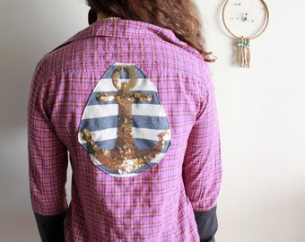Golden Sequin Anchor Button Up Plaid Nautical Mixed Sleeve Cuff Top Upcycled/Recycled Tee Top Hippie Bohemian Clothing OOAK Size Small