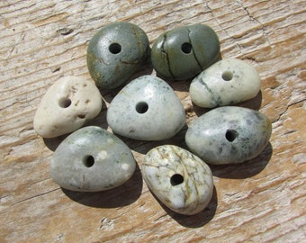 COLORFUL Drilled Beach Stones & Beach Glass Beads Lake Stones Sea Glass 3mm