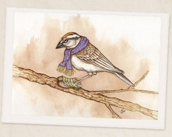 """Sparrow on Branch 5""""x7"""" Blank greeting card"""