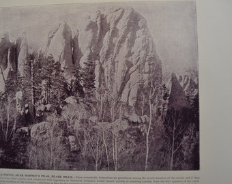 1894 Scenic Photography of America - Needle Points Black Hills South Dakota - Landscape Nature Antique Fine Art for Framing 100 Years Old