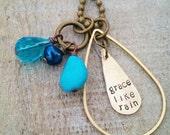 Grace Like Rain Hand Stamped Teardrop Necklace