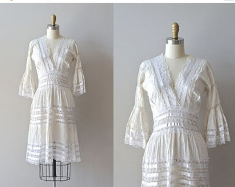 25% OFF.... Balandra lace dress | white lace 1950s dress • vintage 50s mexican wedding dress