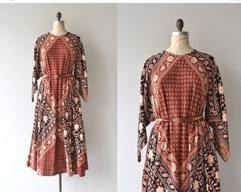 25% OFF.... Adini indian cotton caftan   1970s indian dress   vintage 70s block print caftan