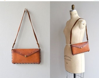 25% OFF.... Nawajo leather bag | vintage 1960s tooled leather bag | small 60s leather purse