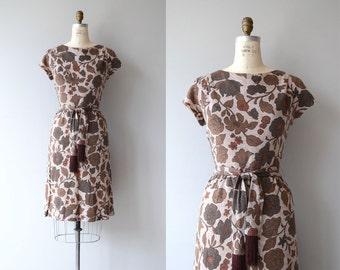 Cinnamon Bloom dress   vintage 1960s sheath dress   floral print 60s dress