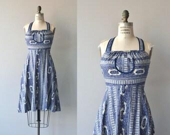 Young Edwardian dress | vintage 1970s halter dress | cotton batik 70s sundress
