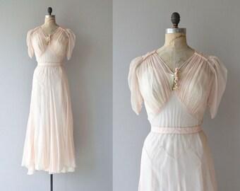 Nymphaea dress   vintage 1930s dress   silk 30s formal dress