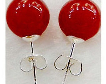 Natural Red Jade 10mm Round Stud Earrings - Even prettier price!