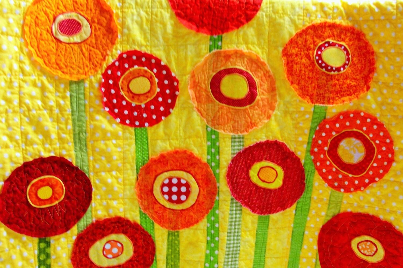 Snap Baby quilt poppies wall art quilt Custom by moonspiritstudios ...