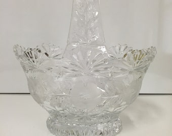 Vintage Glass Basket,Cut Glass and Etching.
