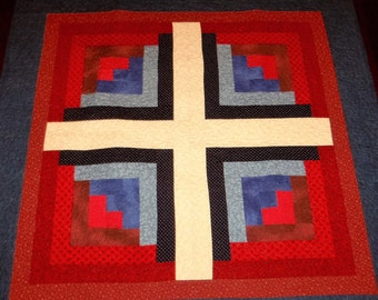 Quilted Table Runner, Americana Patriotic, Sale Priced, Square Table Topper, Log Cabin Block, 35x35 inches, Machine Quilted