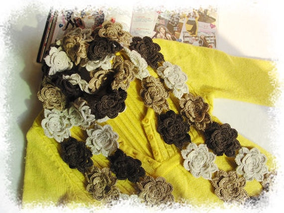 Amazing brown gray and yellow  peony flowers wool scarf