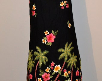 Vintage Black Dress with Tropical Flowers and Palm Trees