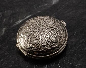 Vintage Locket Pocket Watch Style Silver Metal Vine Jump Ring Hong Kong