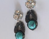 Turquoise & Rhinestone Statement Earrings- Heirloom Collection