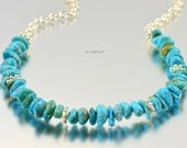 Silver Blue Turquoise Chain Necklace