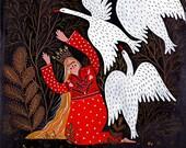 Princess and Geese art print